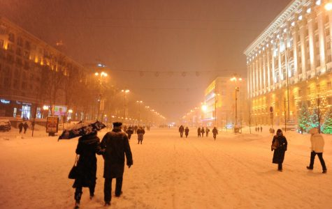 Orange snow blankets Eastern Europe