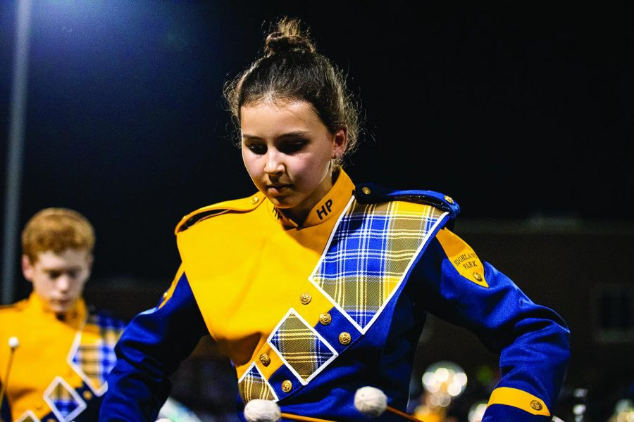 Freshman+Kate+Mader+plays+away+on+her+Marimba+during+a+performance+of+the+band%27s+2019+production+%22Play.%22+The+entire+percussion+section+earned+the+%22Best+Percussion%22+caption+award+at+the+Midlothian+Marching+Showcase.