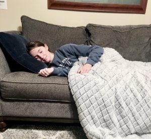 Sophomore Casey Hale sleeps after a long day of work. Hale did not receive her desired amount of sleep from the previous night.