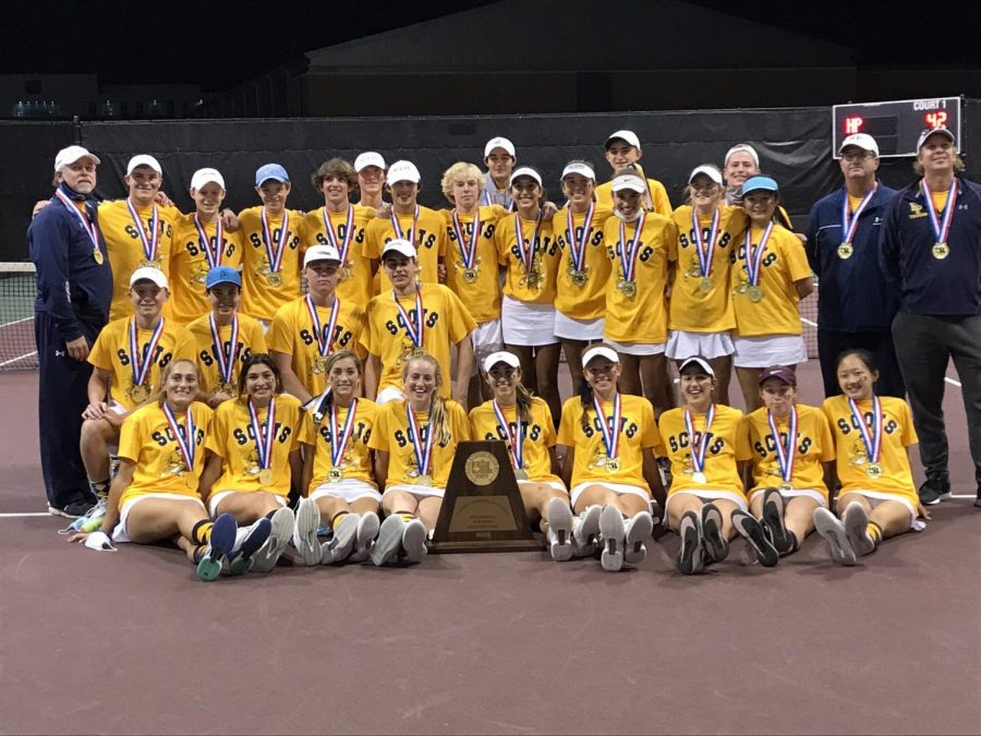 The tennis team brought home its fifth state title in a row, adding to their 21 state championships. The Scots beat Alamo Heights 10-3 on Tuesday.