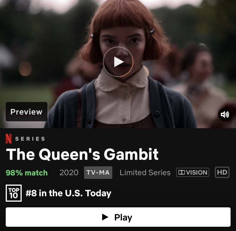"The first season of ""The Queen's Gambit"" can be watched on Netflix. The show has episodes ranging from 48 minutes to a little over an hour."