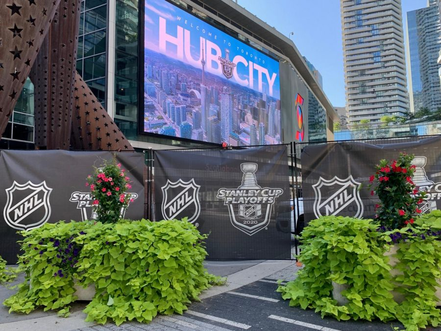 The Scotiabank Arena in Toronto hosts the NHL Stanley Cup Playoffs. The arena and two hotels were fenced off for player and staff use, not allowing anyone in or out.