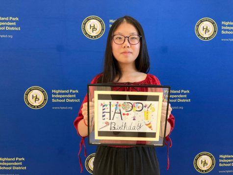"Eighth-grader Yincheng Qian  holds her ""Sweet Birthday,"" which will be on the birthday cards the superintendent sends to all HPISD staff."