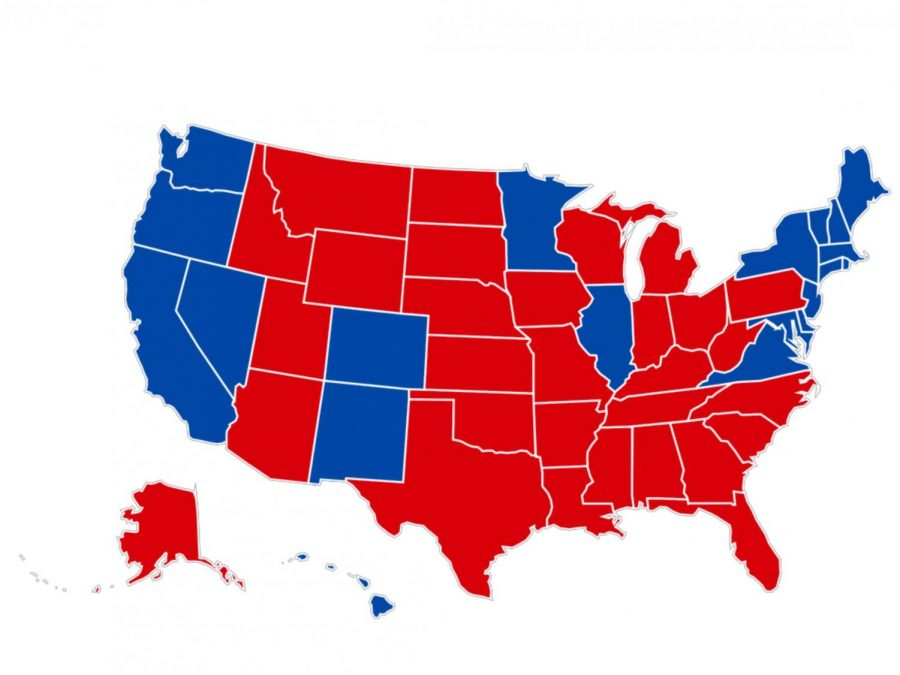 This map above depicts how each state's electorate voted in 2016. Red represents a win for President Donald Trump, and blue represents his running mate Former Secretary of State Hillary Clinton.