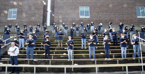 The varsity choir pre-recorded the concert on the football stands to simulate a concert experience. The video was sent out over a Google Meet to parents and students.