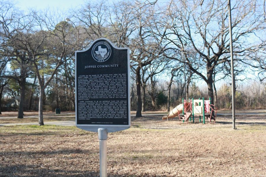 A Texas Historical marker recounts the origin and history of Joppa. Former slaves from the nearby Miller plantation and elsewhere settled the freedmens town, also spelled Joppee, in the 1860s. Joppa is the most polluted neighborhood in Dallas per capita, as its surrounded by industrial plants.