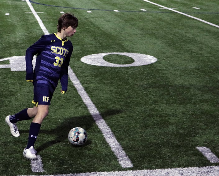 Sophomore Jake Whitehurst takes possession of the ball and goes against Crandall players. This took place during the second half of the game when the sides had switched and Whitehurst aimed for a goal but missed.