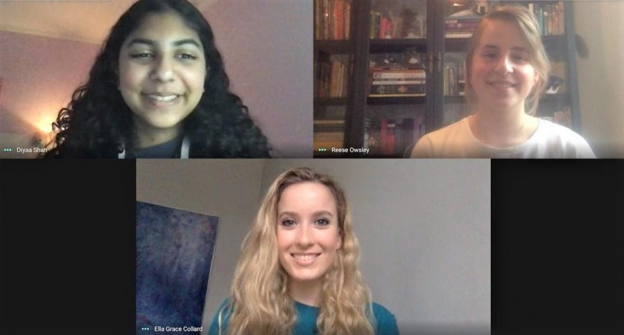 Senior Ella Grace, along with sophomores Diyaa Shah and Clarice Owsley learn virtually on Zoom that they won Conrad Innovators Award in the Environmental Category. The trio believes in empowering students through technology education.