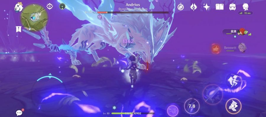 The Player battles the Wolf of the North. The player is in Co-Op mode which allowed them to play with friends.