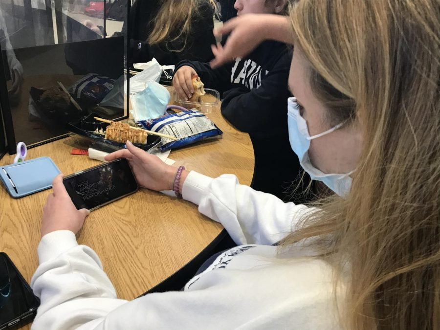 Sophomore Minna Lamprecht watches this year's Grammy Awards. The Grammys hit a record low of viewers this year and, like other major award shows, are not expected to go up in popularity anytime soon.