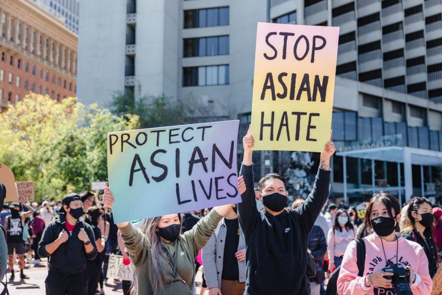 Protestors stand against anti-Asian hate and violence. In light of increasing violence against Asians in America, many more protests have continued to take place.