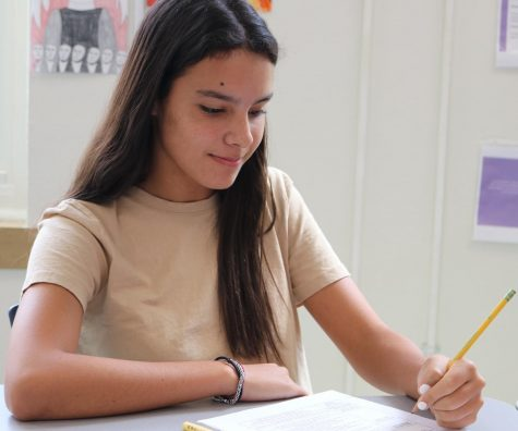 Freshman Carolina Frontera works on her homework. She moved to Dallas from Argentina this year.